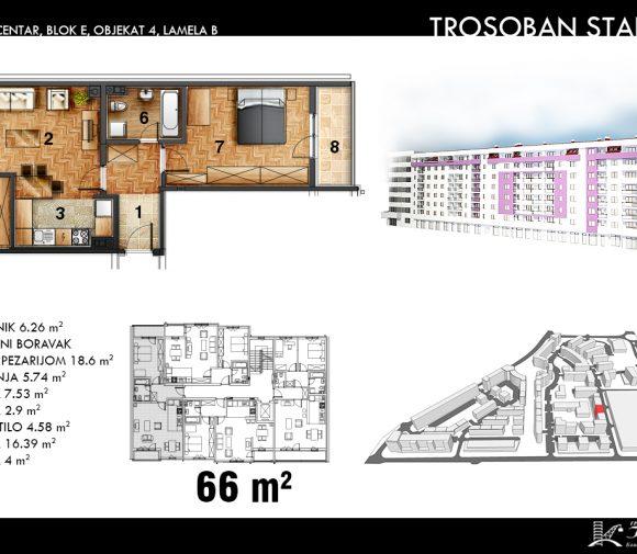 Blok E – Objekat 4 – Lamela B – Stan Tip 5